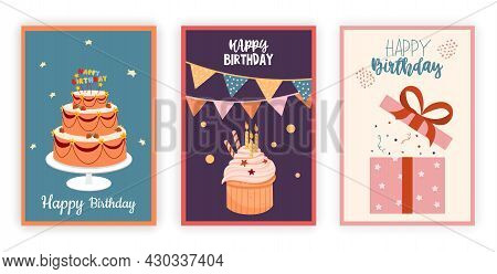 Set Of Birthday. Images For Greeting Cards. Graphic Elements For Posters And Stickers. Collection Of