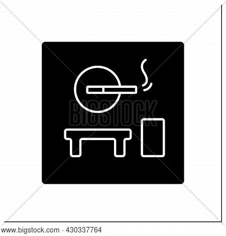 Smoking Room Glyph Icon. Pointer.smoking Lounge.zone Provided And Furnished For Smoke.airport Termin