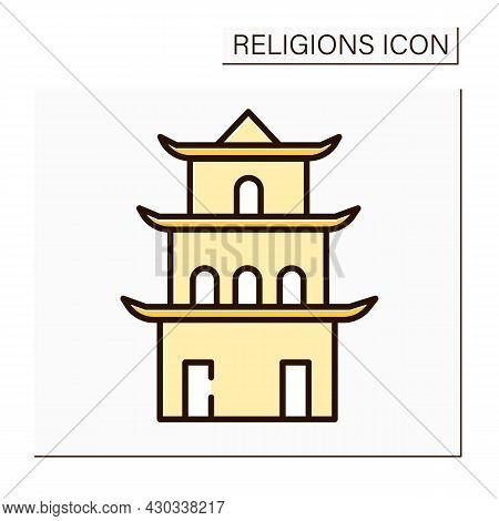 Taoism Color Icon. Main Temple In Chinese Culture. Traditional Place Of Worship In Taoism. Religion