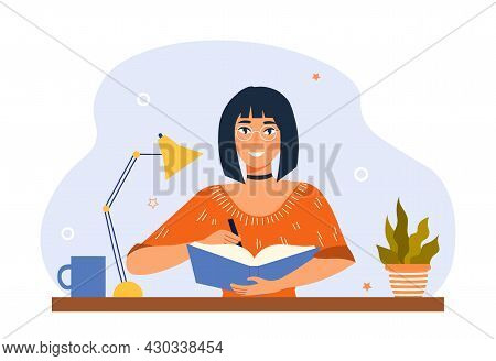 Keep Diary And Write Notebook Concept. Woman Sitting At Desk And Making Notes In Journal. Student St