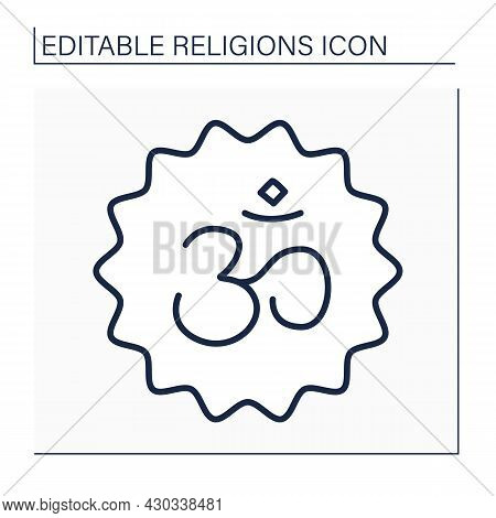 Hinduism Line Icon.indian Religion And Dharma.philosophical Beliefs. Typical Positions Are Karma, Sa