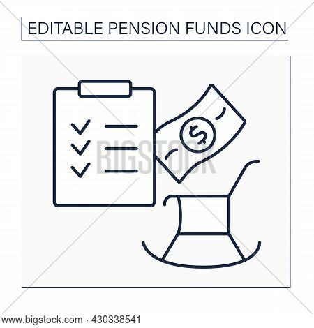 Pension Plan Line Icon.defined Benefit Retirement Plan. Employers Promise To Pay Defined Benefits To