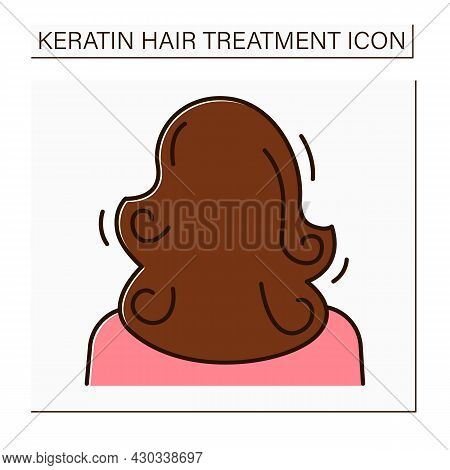Volume Color Icon. Healthy, Curly And Well-groomed Hair. Naturalle Volume. Keratin Treatment. Beauty