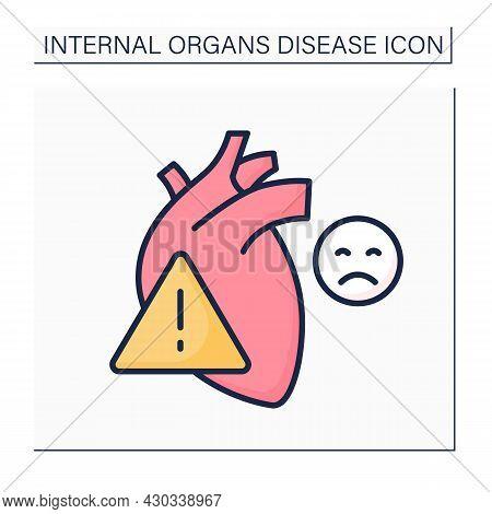 Heart Attack Color Icon. Pain In Heart. Bad Feelings. Cardiovascular Disease. Internal Organs Diseas