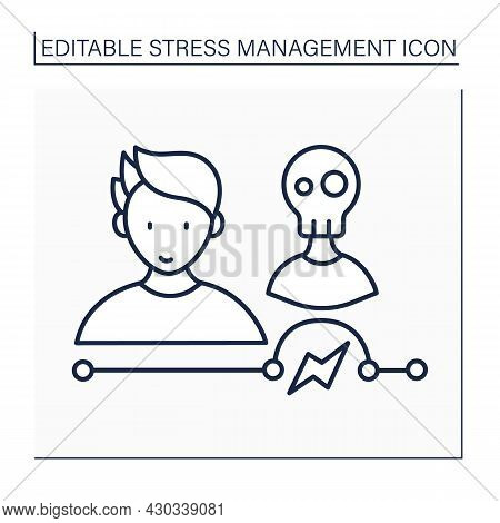Avoid Stressful People Line Icon. Limit Toxic People. Shun A Person Who Is Stressed. Mental Health C