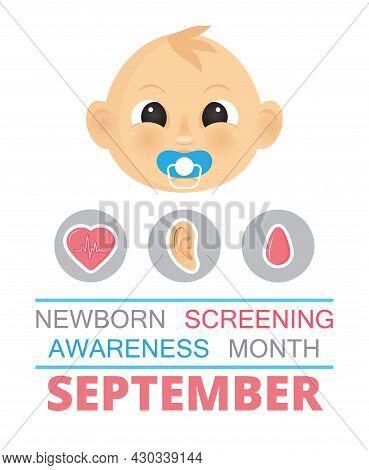 Newborn Screening Awareness Month Concept Vector. Heel Stick And Blood Drop Test