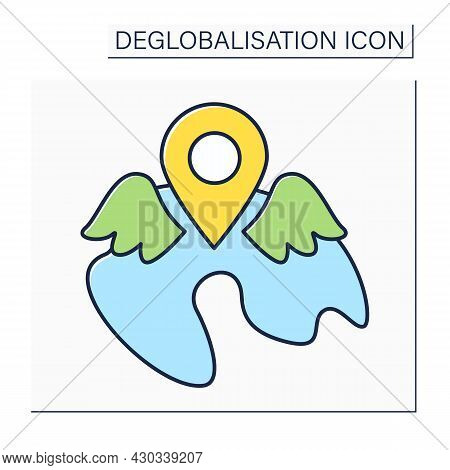 Local Resurgence Color Icon.increase Or Revival After Period Of Little Activity, Popularity, Or Occu