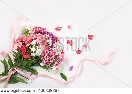 Phlox Flowers Bouquet With Ribbon, Abstract Floral Arrangement, Spring Or Autumn Background With Pla