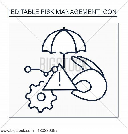 Minor Risks Line Icon. Low Failure Probability. Business Concept. Isolated Vector Illustration. Edit