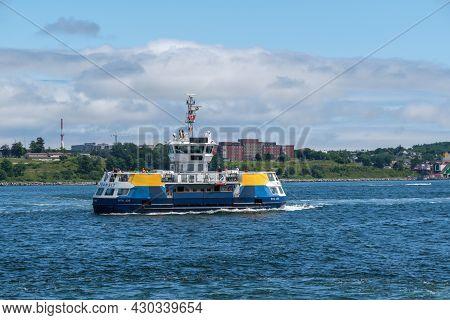 Halifax, Canada - 11 August 2021: Halifax Transit Ferry Going From Dartmouth To Halifax