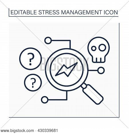 Stress Source Line Icon.find Source Of Stressful Situations.mental Health Concept. Isolated Vector I