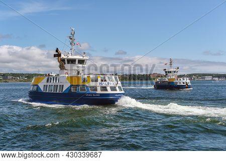 Halifax, Canada - 11 August 2021: Halifax Transit Ferry Going From Halifax To Dartmouth