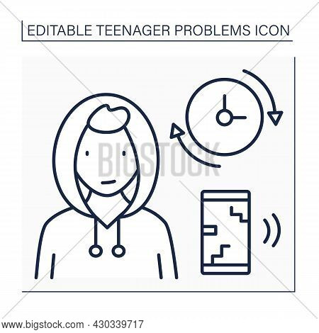Teenage Problem Line Icon. Constant Activity On Phone. Smartphone Overuse. Teenager Spend A Lot Of T