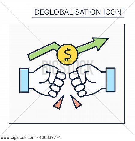 Trade War Color Icon.rivalry Between Supplier Countries. Fight To Capture Foreign Markets. Deglobali