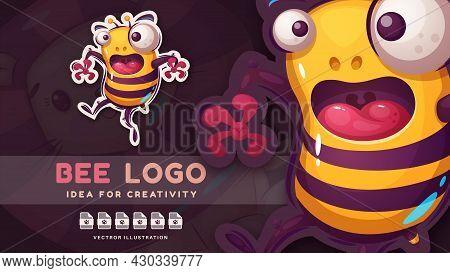 Cartoon Character Crazy Bee - Funny Sticker. Vector Eps 10