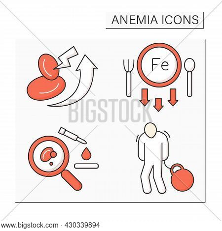 Anemia Color Icons Set. Lack Of Iron In Diet, Blood Analysis, Body Heaviness.high Rates Of Red Blood
