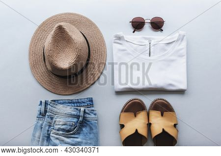 Womens Summer Fashion Flat Lay With Beautiful Stylish Casual Clothes And Accessories On Gray Backgro