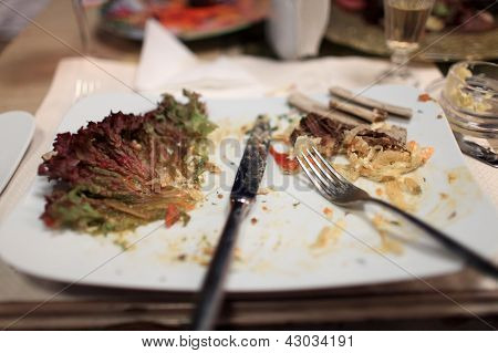 Leftovers On A White Plate