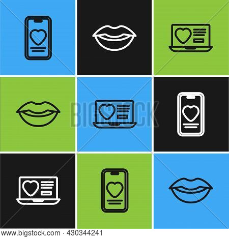 Set Line Online Dating App And Chat, Dating Online And Smiling Lips Icon. Vector