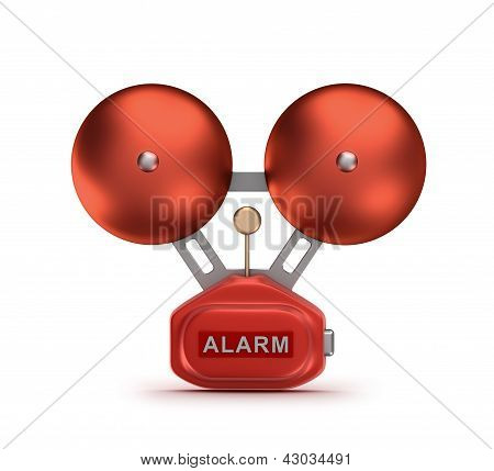 Red fire alarm bell ringer