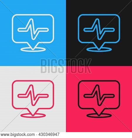Pop Art Line Heart Rate Icon Isolated On Color Background. Heartbeat Sign. Heart Pulse Icon. Cardiog