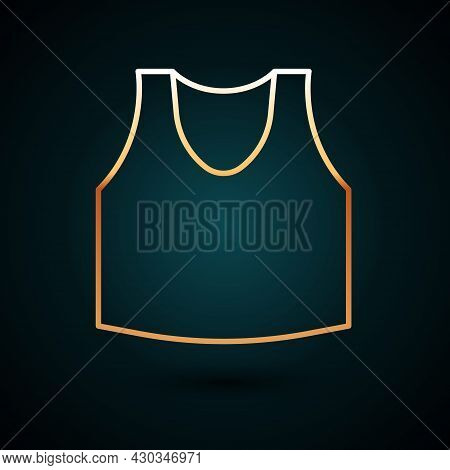 Gold Line Undershirt Icon Isolated On Dark Blue Background. Vector