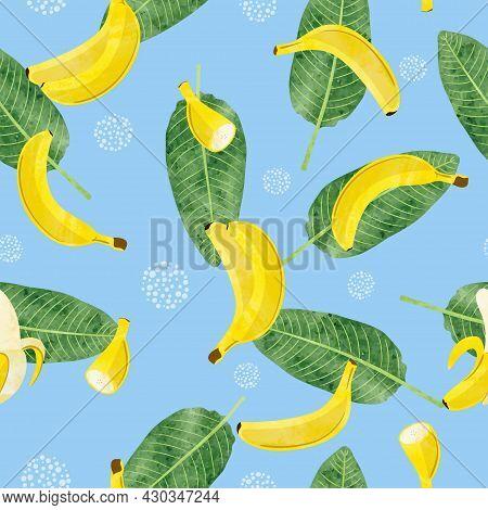 Seamless Banana Leaves And Bananas Fruit Pattern. Vector Watercolor Illustration.