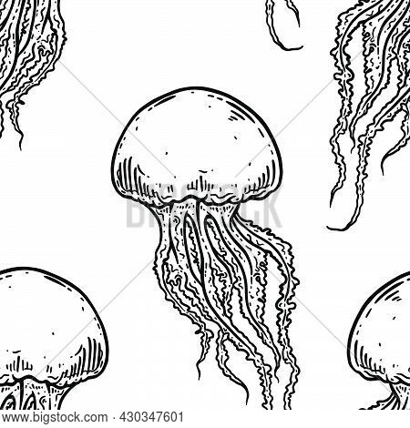 Hand Drawn Jellyfish Vector Seamless Pattern. Medusa With Long Tentacles Background Illustration. Se