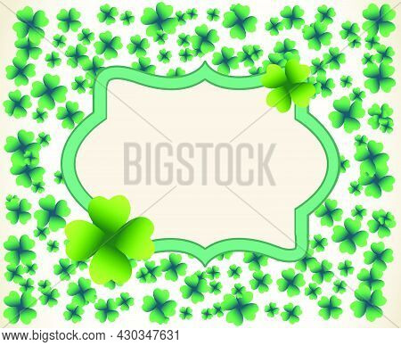 Saint Patrick's Day Vintage Light Vector Frame With Small Green Four-leaf Clover Shamrock Leaves. Ir