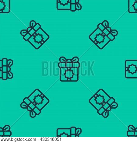 Blue Line Gift Box Icon Isolated Seamless Pattern On Green Background. Holy Month, Ramadan, Christma