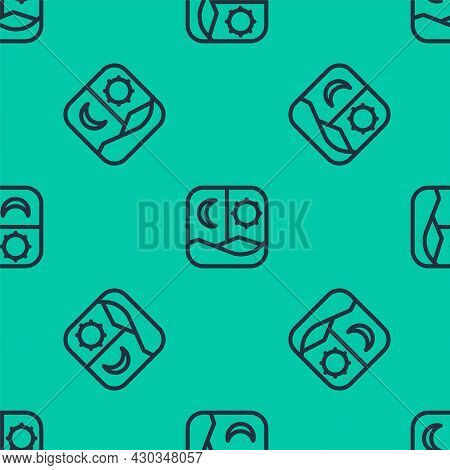 Blue Line Ramadan Fasting Icon Isolated Seamless Pattern On Green Background. Fast Day And Night. Re