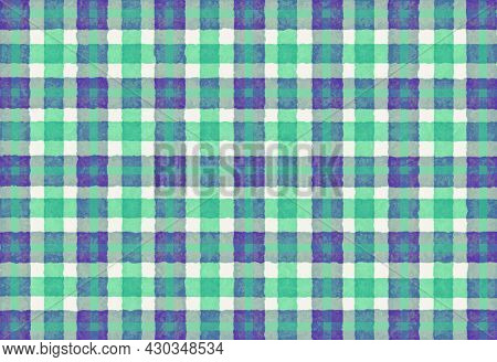 Green Blue Purple Checkered Old Vintage Background With Blur, Gradient And Texture. Classic Checkere