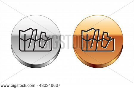 Black Line Glacier Melting Icon Isolated On White Background. Silver-gold Circle Button. Vector