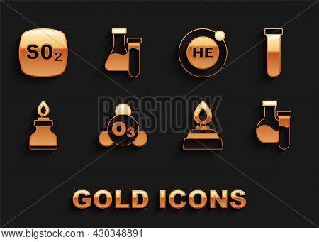 Set Ozone, Test Tube, Alcohol Or Spirit Burner, Helium, Sulfur Dioxide So2 And Icon. Vector