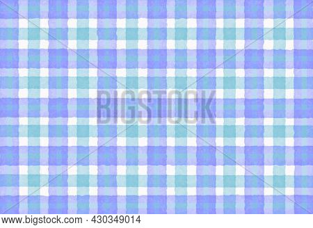 Green Lilac Blue Checkered Old Vintage Background With Blur, Gradient And Texture. Classic Checkered