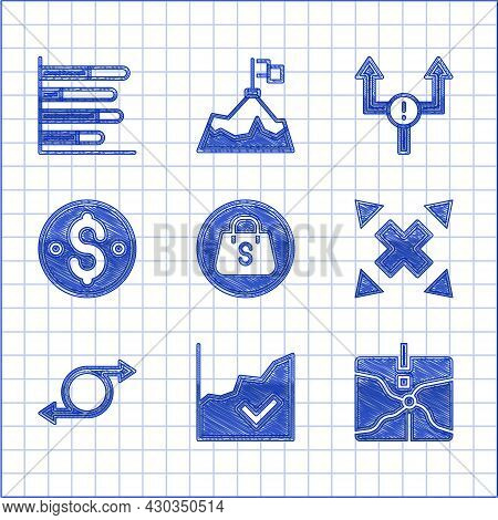Set Shopping Bag With Sale, Financial Growth Increase, Intersection Point, Many Ways Directional Arr