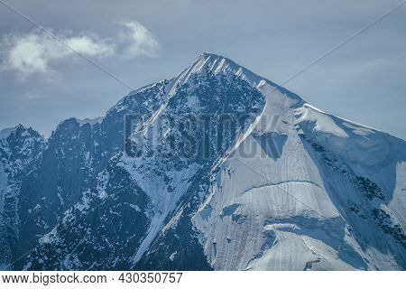 Awesome Mountains Landscape With Big Snowy Mountain Pinnacle In Blue White Colors And White Cirrus C