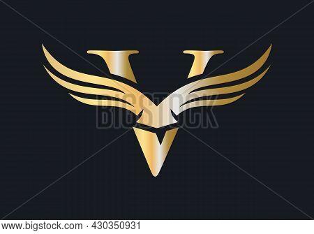 V Letter Wing Logo Design. Initial Flying Wing V Letter Logo. Letter V Logo And Wings Concept