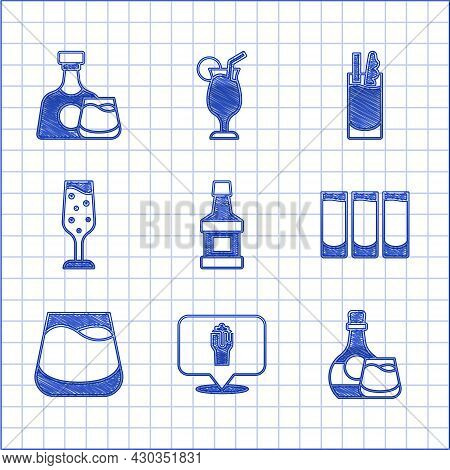 Set Whiskey Bottle, Alcohol Or Beer Bar Location, And Glass, Shot, Glass Of Whiskey, Champagne, Cock