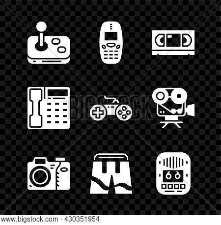 Set Joystick, Old Mobile Phone, Vhs Video Cassette Tape, Photo Camera, Short Or Pants, Cassette Play