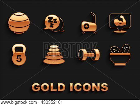Set Stack Hot Stones, Bodybuilder Muscle, Salad In Bowl, Dumbbell, Weight, Stationary Bicycle, Fitne