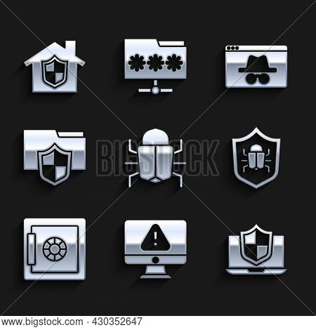 Set System Bug, Monitor With Exclamation Mark, Laptop Protected Shield, Safe, Document Folder Protec