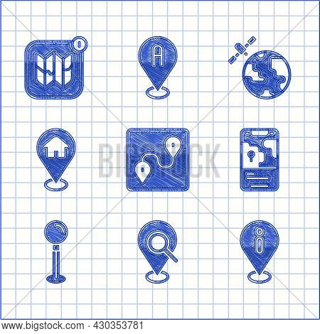 Set Route Location, Search, Location With Information, City Map Navigation, Push Pin, House, Satelli