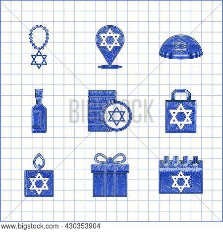 Set Jewish Coin, Gift Box, Calendar, Shopping Bag With Star Of David, Burning Candle, Wine Bottle, K