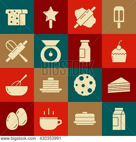 Set Paper Package For Milk, Cake, Rolling Pin On Dough, Scales, Kitchen Whisk And Rolling, Bread Toa