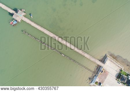 Aerial Top View Drone Shot Of Small Bridge In The Sea Image Transportation Background Concept And Tr