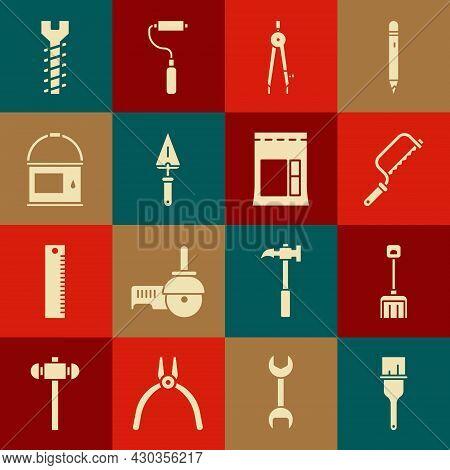 Set Paint Brush, Snow Shovel, Hacksaw, Drawing Compass, Trowel, Bucket, Metallic Screw And Cement Ba
