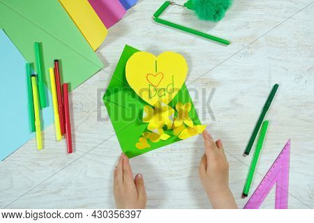Greeting Card For On Father's Day Heart With Lettering. Envelope  Crafts And Flower From Colorful Pa