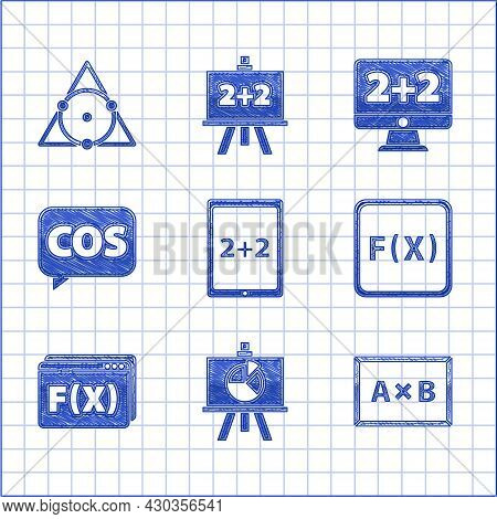 Set Tablet With Calculator, Chalkboard Diagram, Function Mathematical Symbol, Mathematics Function C