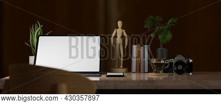 Modern Home Office Room In Darkness, Tablet Screen Mockup